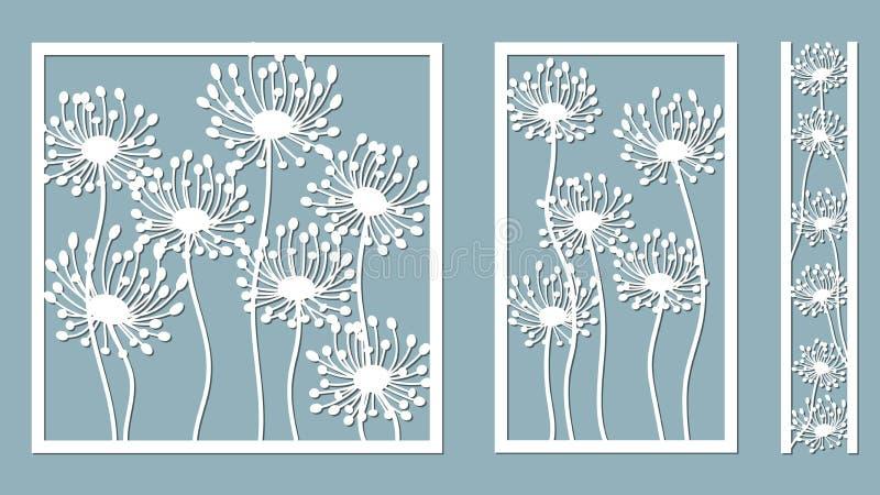 Vastgesteld malplaatje voor laserknipsel en Plotter Paardebloem voor decoratie Vector illustratie De vastgestelde vector van de s royalty-vrije illustratie