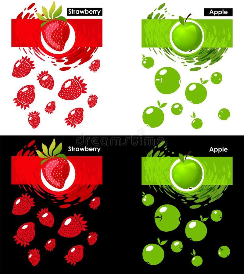 Vastgesteld malplaatjepictogram van fruit, aardbei en appel vector illustratie