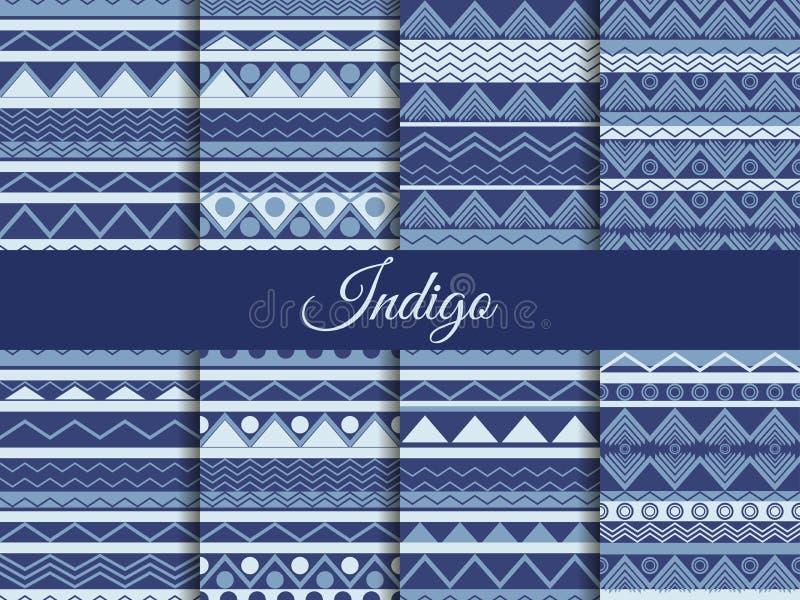 Vastgesteld naadloos etnisch patroon, stammentextuur, hippiestijl De kleurenindigo, de de zomertendens vector illustratie