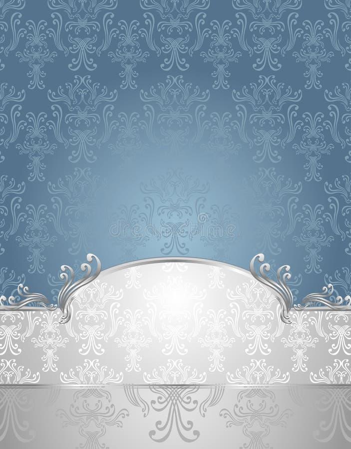 Vastgesteld Naadloos patroon in Victoriaans stijlBlauw en S stock illustratie