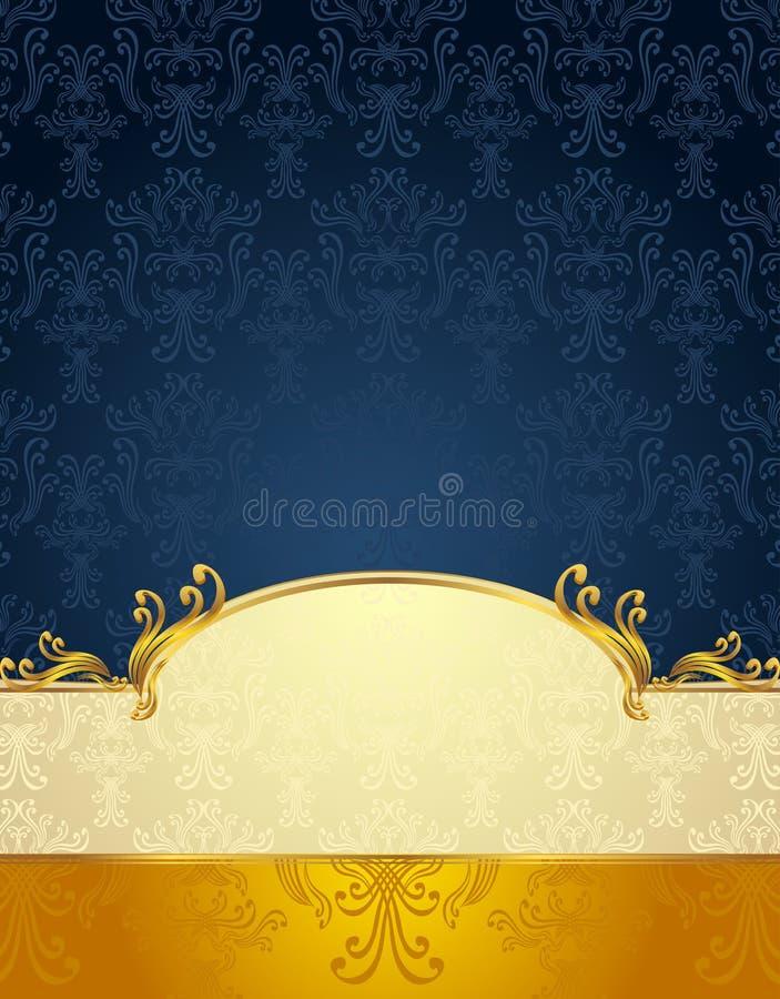 Vastgesteld Naadloos patroon in Victoriaans stijlGoud en D stock illustratie