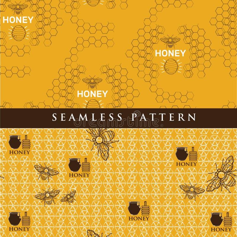 Vastgesteld naadloos patroon voor honingsproduct royalty-vrije illustratie