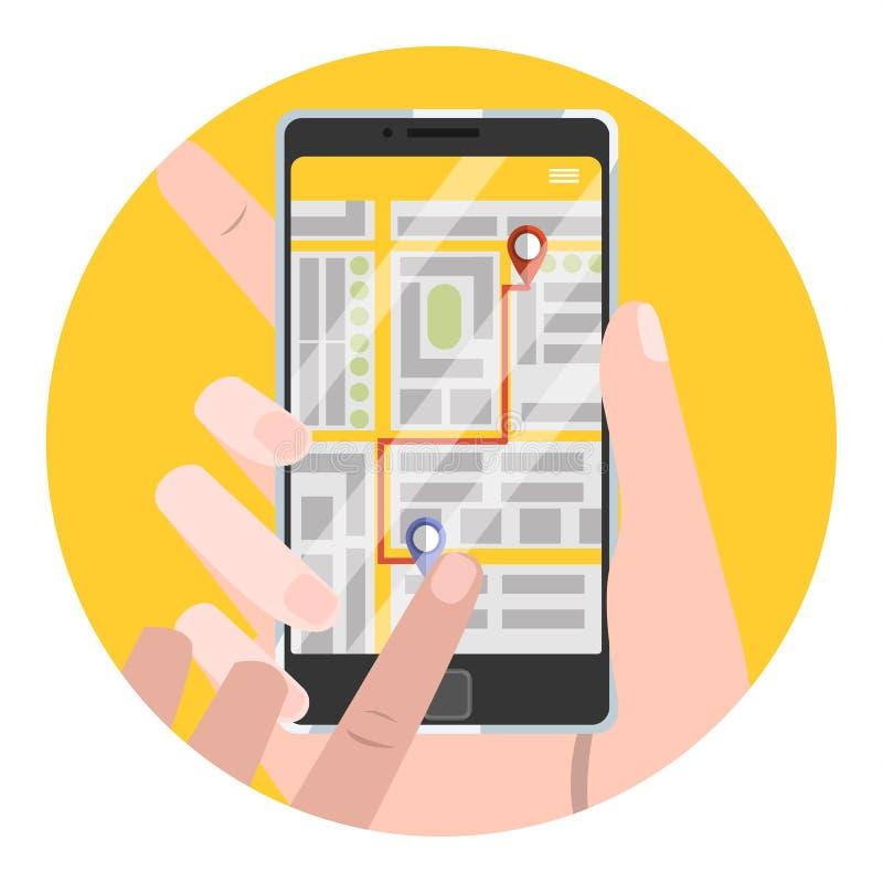 Vastgesteld neem plaats in de taxi op boekend app stock illustratie
