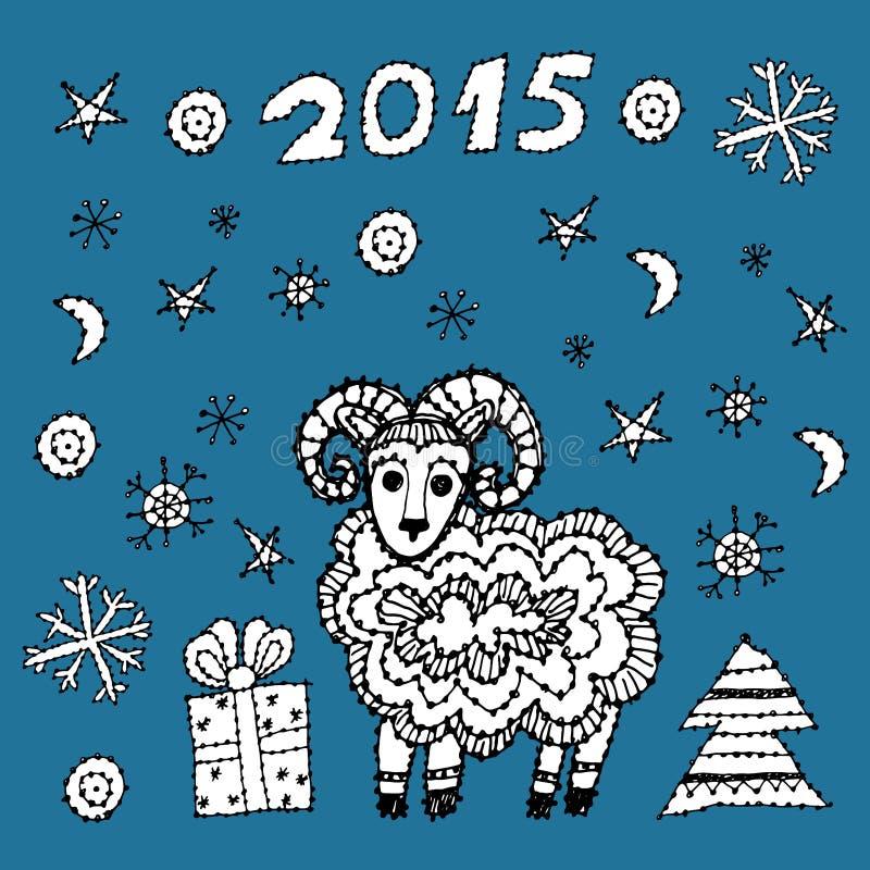 Vastgesteld nieuw jaarsymbool 2015 schapen, sparren, sneeuwvlokken vector illustratie
