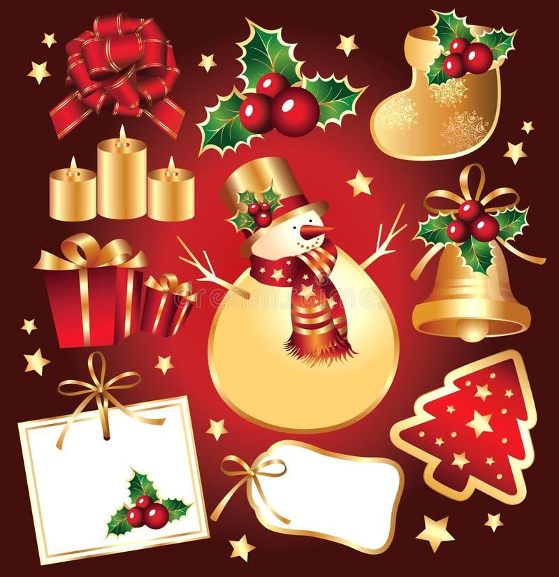 Vastgesteld Nieuwjaar, Kerstmissymbolen en elemnts. royalty-vrije illustratie