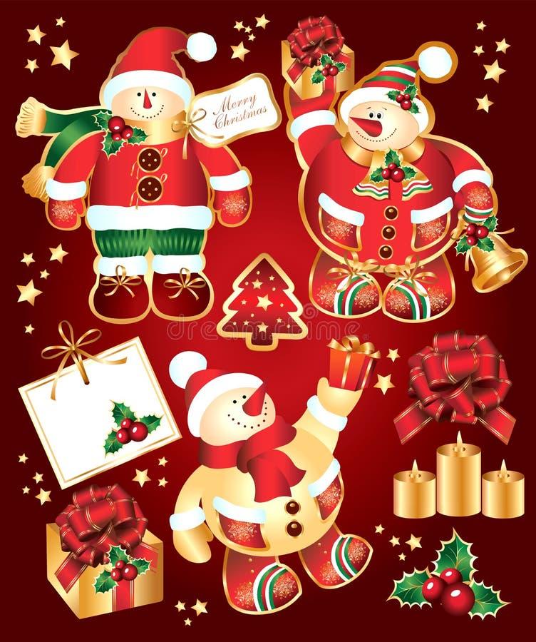 Vastgesteld Nieuwjaar, Kerstmissymbolen en elemnts. vector illustratie