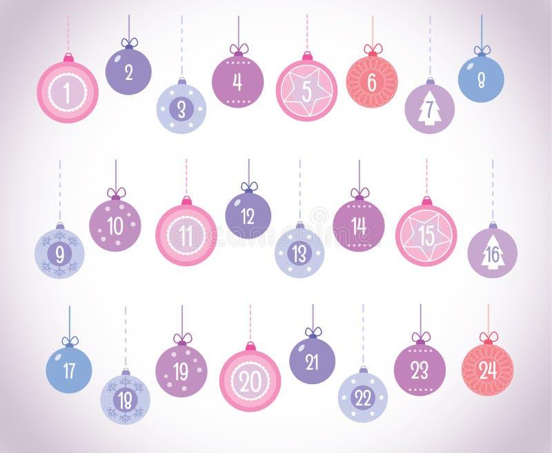 Vastgesteld Nummer 1-24 van Advent Calendar Christmas Ball Vector vector illustratie