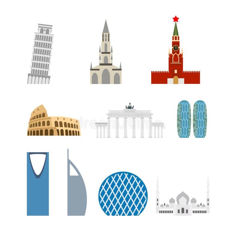 Vastgesteld oriëntatiepunt Duitsland, Rusland Aantrekkelijkheid van Doubai, Rome vector illustratie