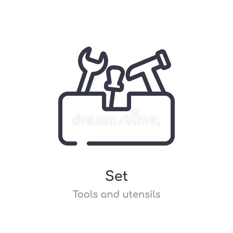 vastgesteld overzichtspictogram ge?soleerde lijn vectorillustratie van hulpmiddelen en werktuigeninzameling editable dun slag vas stock illustratie