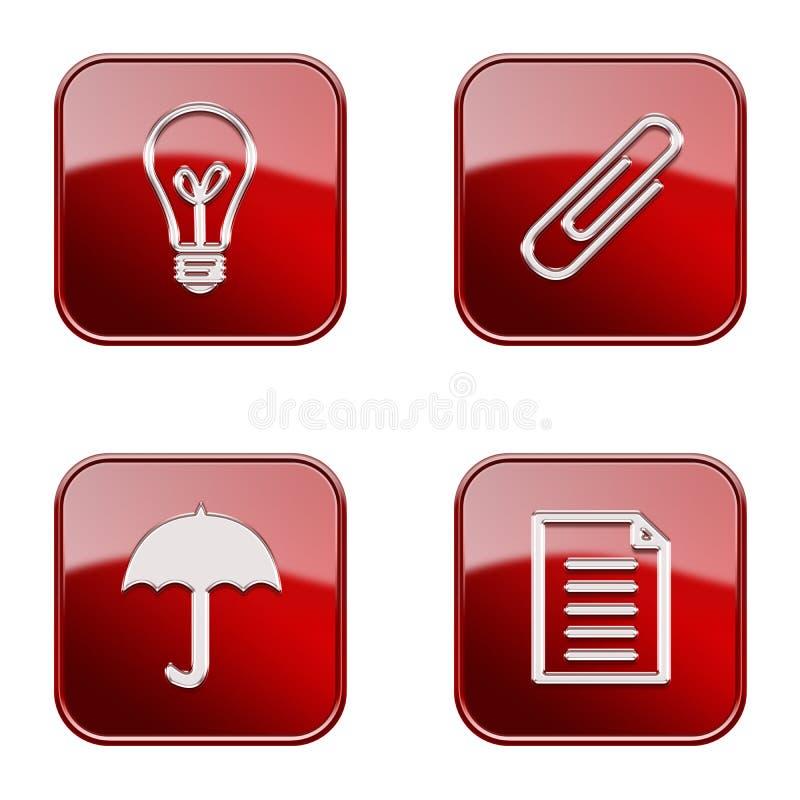 Vastgesteld pictogram rode glanzende #11. stock illustratie