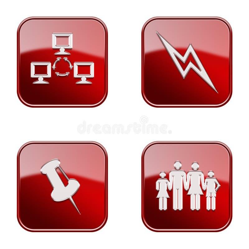 Vastgesteld pictogram rode glanzende #17. vector illustratie