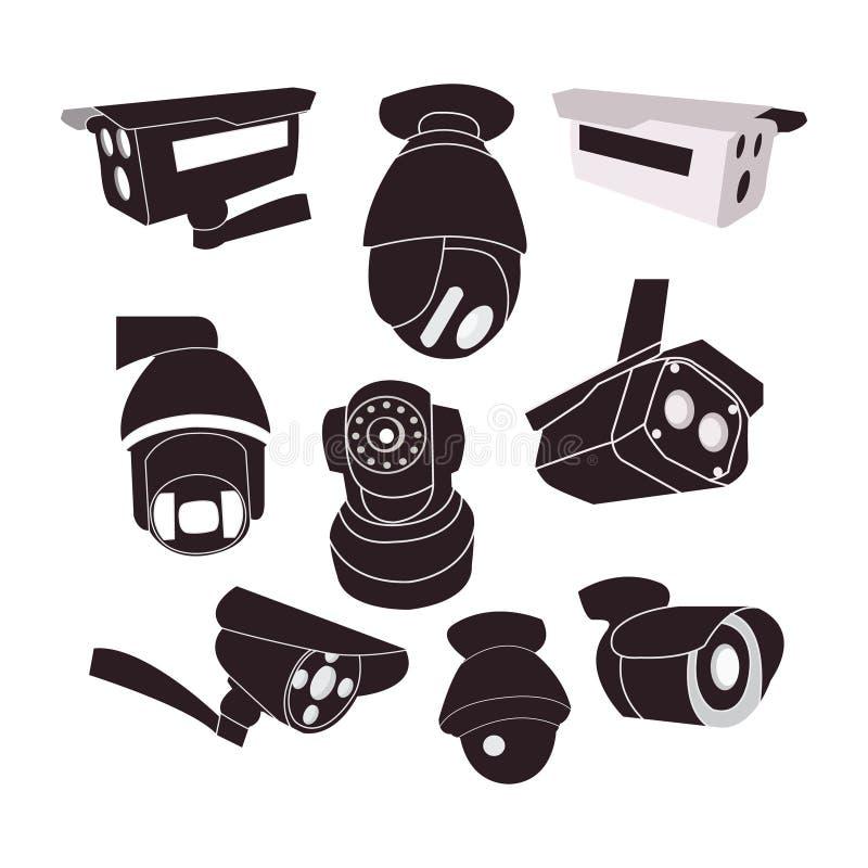 Vastgesteld pictogram van kabeltelevisie-camera's vector illustratie