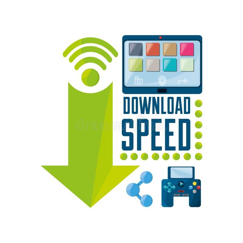 Vastgesteld pictogram verwant met de dossiers van Internet en van de download stock illustratie