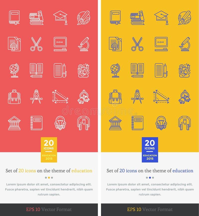 Vastgesteld Pictogrammenthema van Onderwijs en het Leren stock illustratie