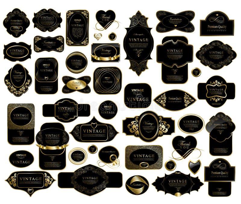 Vastgesteld retro uitstekend linten en etiket royalty-vrije illustratie