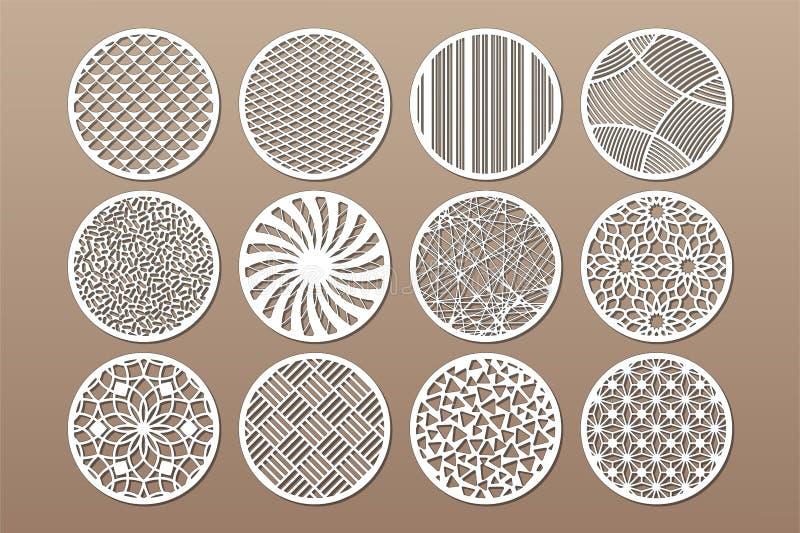 Vastgesteld rond malplaatje voor knipsel Abstracte lijn, geometrisch patroon Laserbesnoeiing Vastgestelde verhouding 1:2 Vector i royalty-vrije illustratie