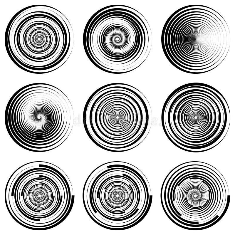 Vastgesteld rond spiraalvormig cirkel filigraanwatermerk, vectoreps dynamische swoosh, de vervalste bescherming van het malplaatj royalty-vrije illustratie