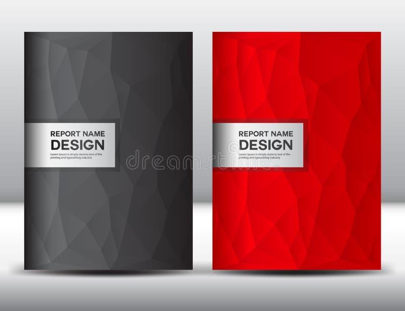 Vastgesteld Rood en zwart Dekkingsmalplaatje, jaarverslag, yer van brochurefl, vector illustratie