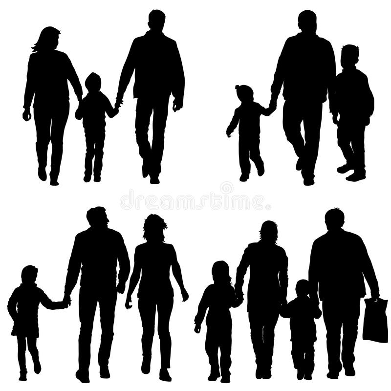 Vastgesteld silhouet van gelukkige familie op een witte achtergrond Vector illustratie vector illustratie