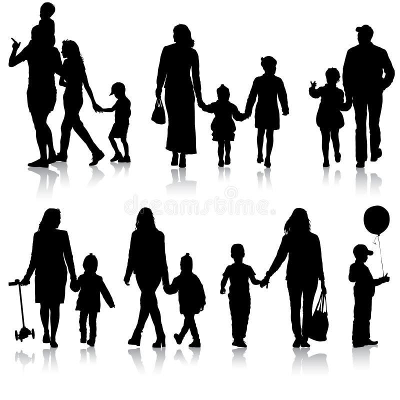 Vastgesteld silhouet van gelukkige familie op een witte achtergrond Vector illustratie royalty-vrije illustratie