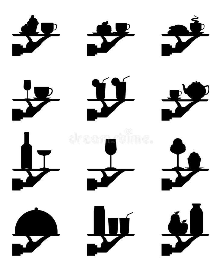 Vastgesteld Silhouet vlak pictogram, eenvoudig vectorontwerp De holdingsdienblad van de kelners` s hand met voedsel en dranken royalty-vrije illustratie