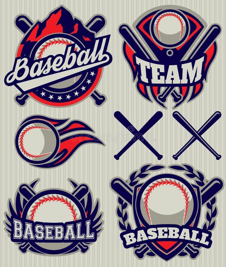 Vastgesteld sportenmalplaatje met bal en knuppels voor honkbal stock illustratie