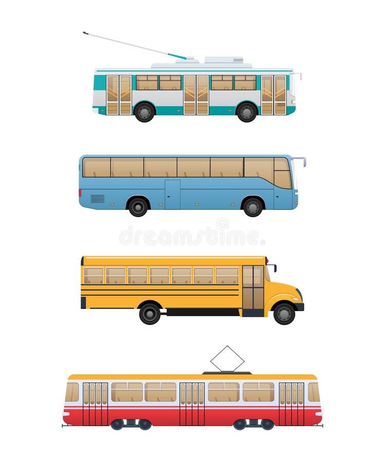 Vastgesteld stedelijk routevervoer Trolleybus, school en pendelbus, tram royalty-vrije illustratie