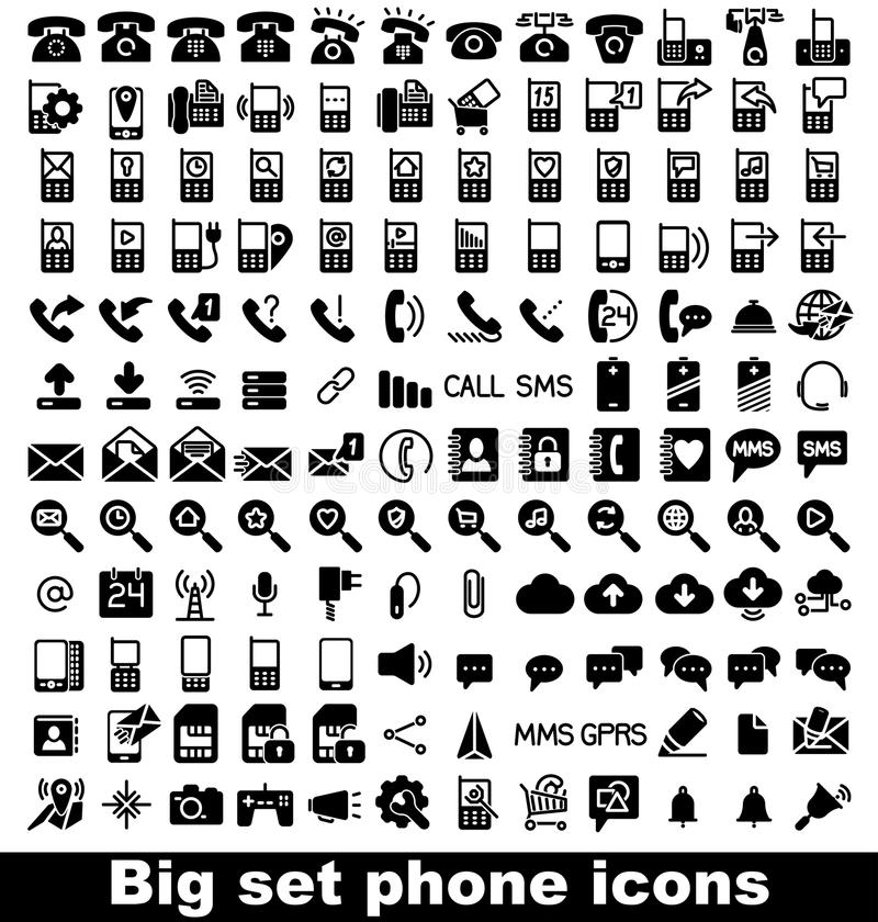 Vastgesteld telefoonpictogram stock foto's