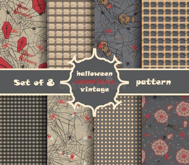 Vastgesteld uitstekend naadloos patroon voor Halloween-partij royalty-vrije illustratie