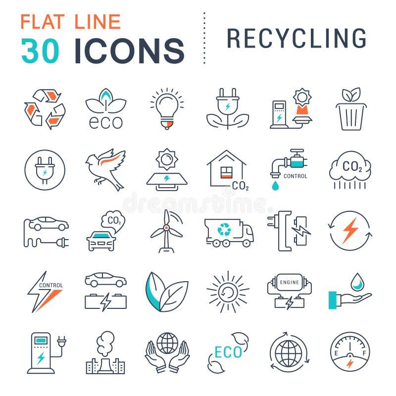 Vastgesteld Vector Vlak Lijnpictogrammen Recycling stock illustratie