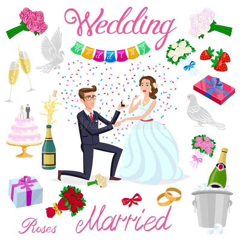 Vastgesteld vectorhuwelijks enkel echtpaar met hartenavatars karakters van de de champagnecake van rozenbloemen van de jonggehuwd stock illustratie