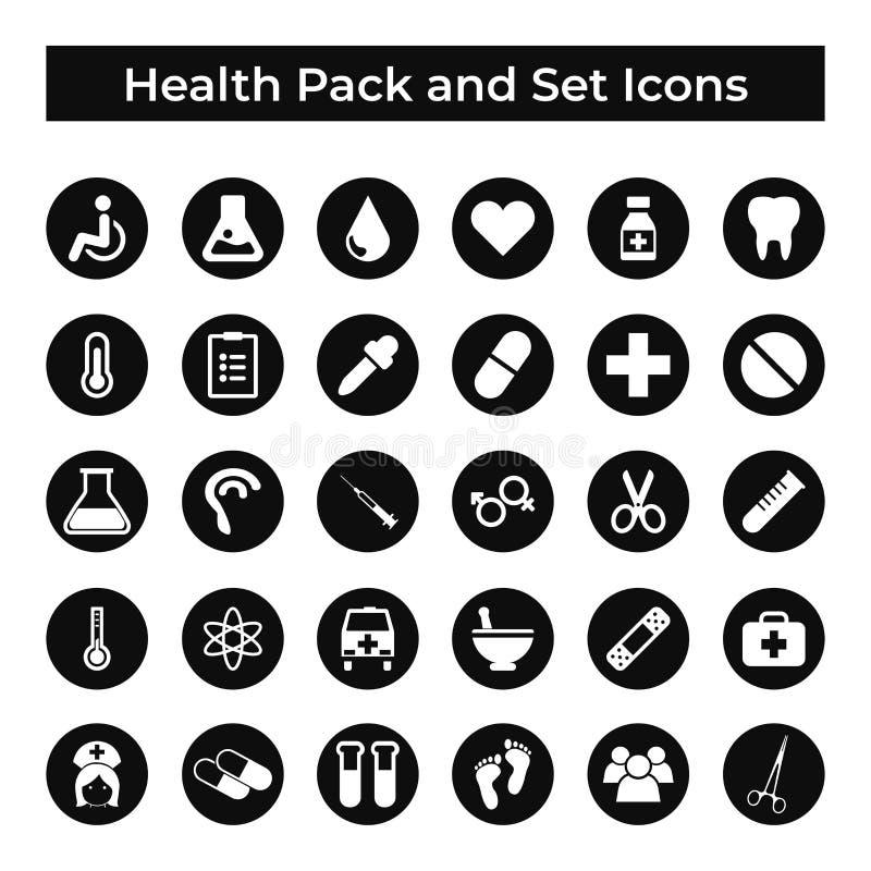 Vastgesteld Vectorpictogrammen, Teken en de Elementen van de van de van het Symbolenontwerp, Geneeskunde en Gezondheid stock illustratie