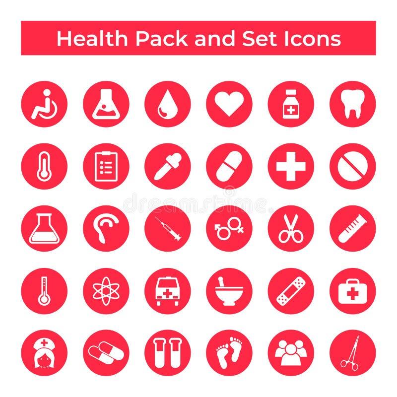 Vastgesteld Vectorpictogrammen, Teken en de Elementen van de van de van het Symbolenontwerp, Geneeskunde en Gezondheid royalty-vrije illustratie