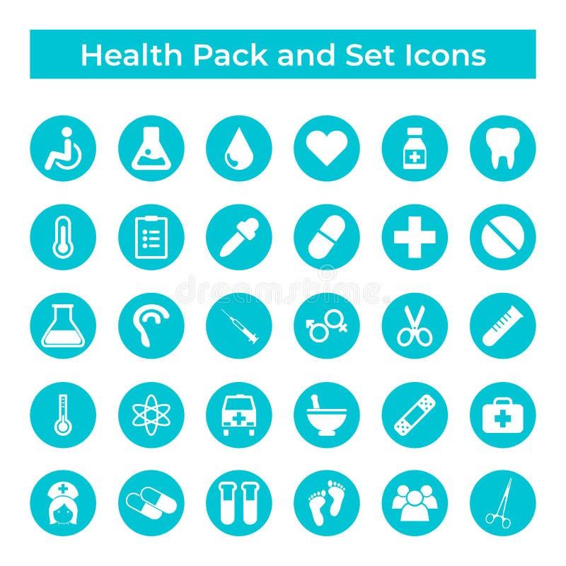 Vastgesteld Vectorpictogrammen, Teken en de Elementen van de van de van het Symbolenontwerp, Geneeskunde en Gezondheid vector illustratie