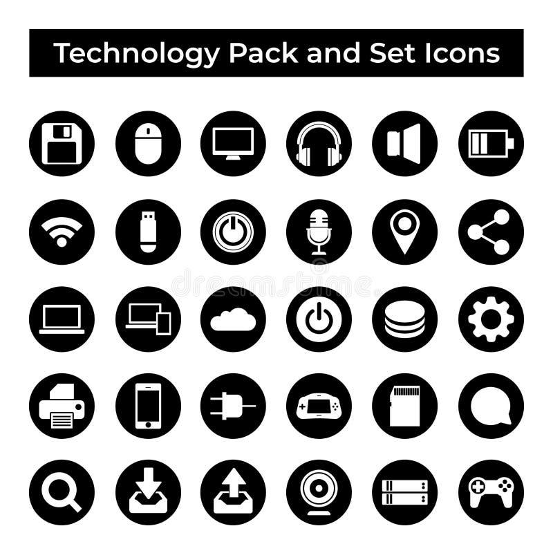 Vastgesteld Vectorpictogrammen, Teken en Symbolen Ontwerp, Technologie en Gegevensverwerkingselementen royalty-vrije illustratie