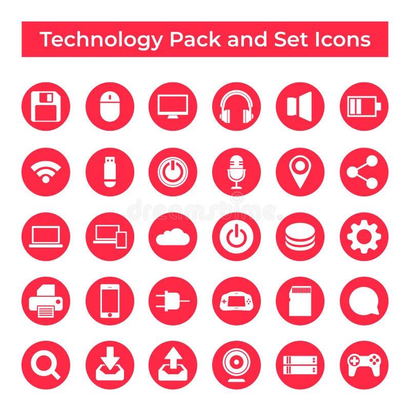 Vastgesteld Vectorpictogrammen, Teken en Symbolen Ontwerp, Technologie en Gegevensverwerkingselementen stock illustratie