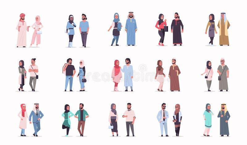 Vastgesteld verschillend Arabisch bedrijfspaar die zich Arabische man vrouw verenigen die traditioneel kleren Arabisch beeldverha royalty-vrije illustratie