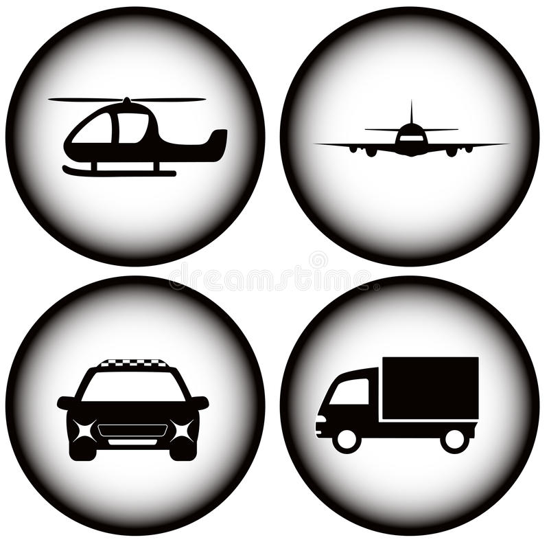 Vastgesteld vervoer op gloeiende pictogrammen vector illustratie
