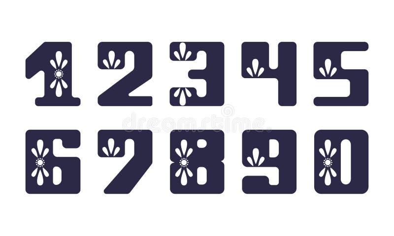 Vastgesteld vettig cijfer met bloemenornamenten voor decoratie en ontwerp vector illustratie