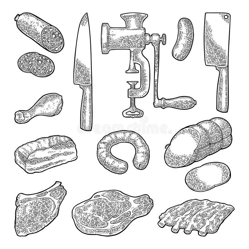 Vastgesteld vleeswaren en keukenmateriaal Uitstekende zwarte vectorgravure vector illustratie