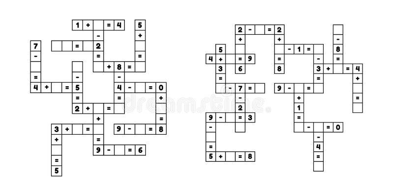 Vastgesteld wiskunde onderwijsspel voor kleuterschool en schoolleeftijdskinderen Los het kruiswoordraadsel op aantallen Toevoegin stock illustratie