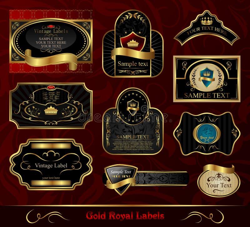 Vastgesteld zwarte gouden-ontworpen etiket royalty-vrije illustratie