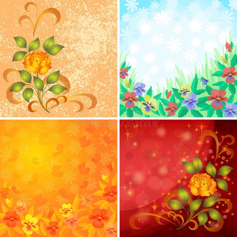 Download Vastgestelde Abstracte Bloemenachtergronden Vector Illustratie - Illustratie bestaande uit boeket, vakantie: 54076032