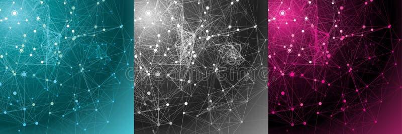 Vastgestelde abstracte communicatie achtergronden. stock illustratie