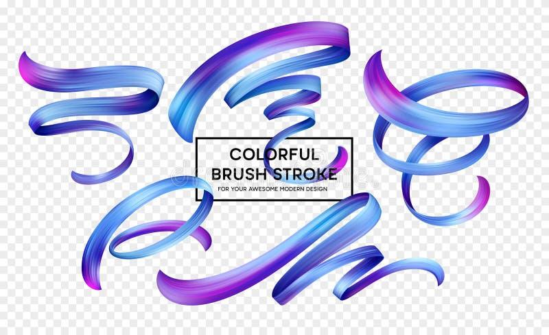 Vastgestelde abstracte kleurrijke het ontwerpelementen van de golfstroom Vector illustratie royalty-vrije illustratie
