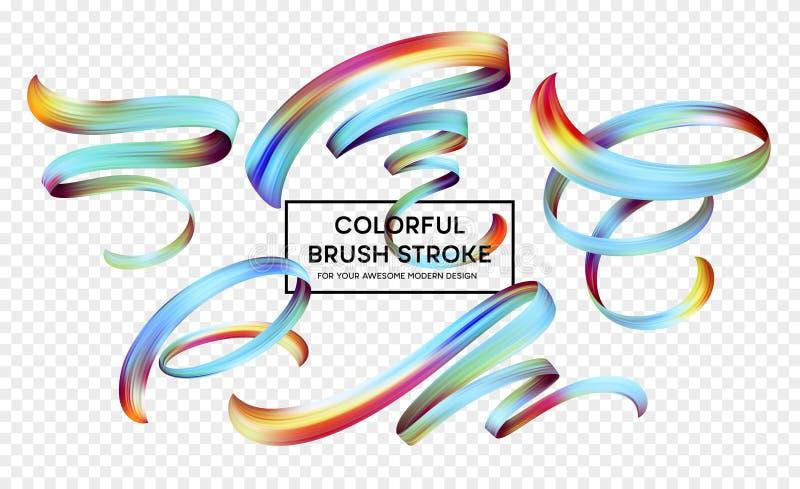 Vastgestelde abstracte kleurrijke het ontwerpelementen van de golfstroom Vector illustratie vector illustratie