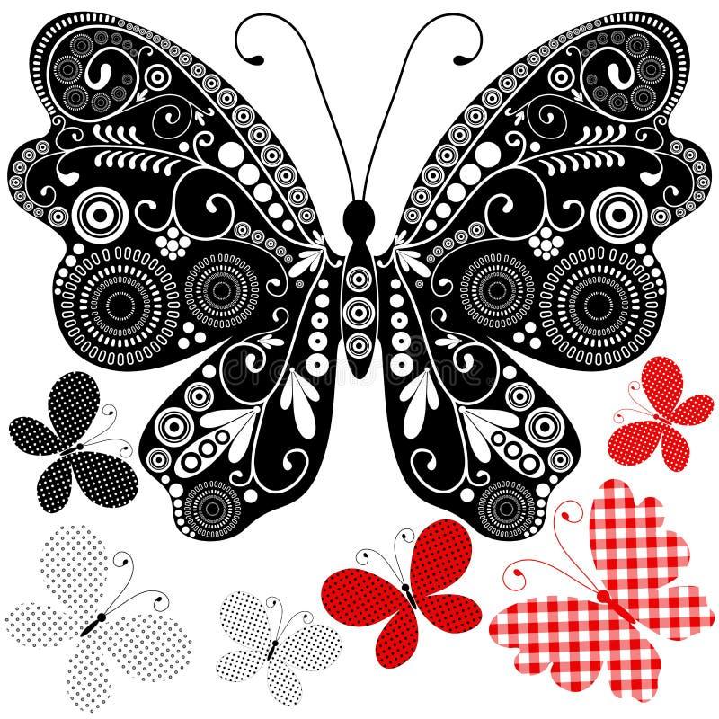 Vastgestelde abstracte uitstekende vlinders vector illustratie