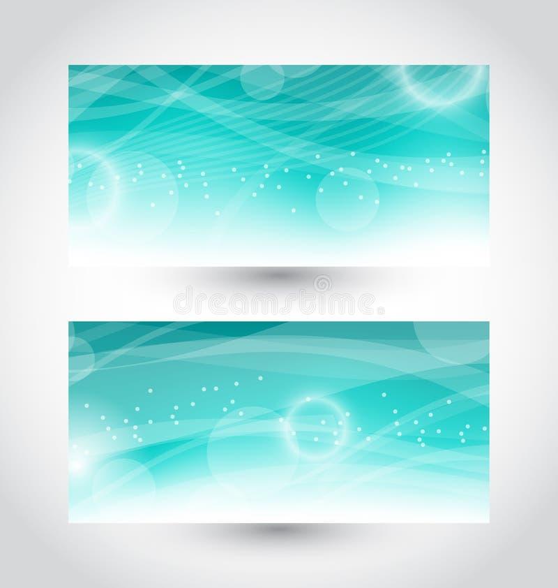 Vastgestelde abstracte waterbanners, ontwerpmalplaatje stock illustratie