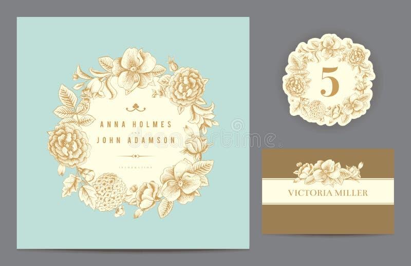 Vastgestelde achtergronden om het huwelijk te vieren. royalty-vrije illustratie