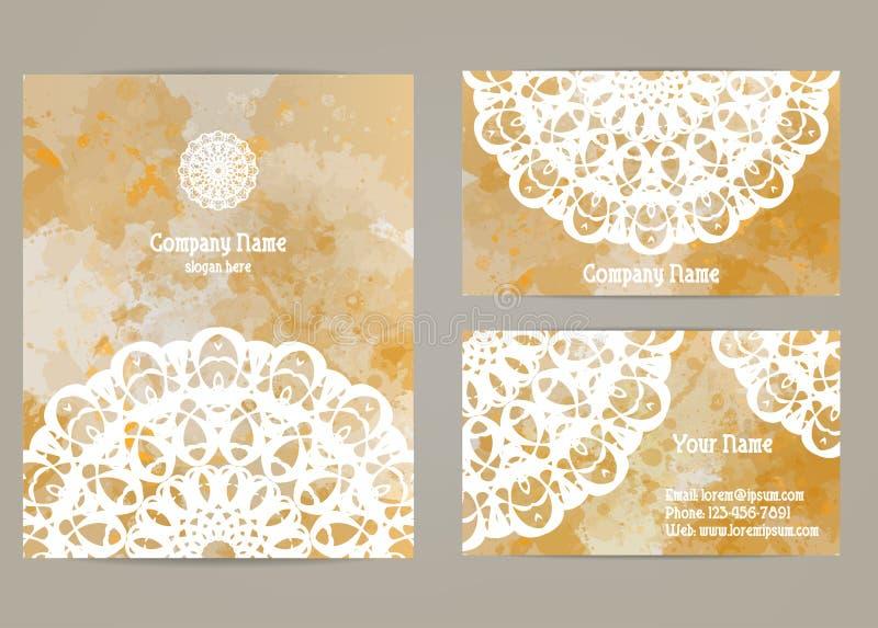 Vastgestelde adreskaartjes met mandala vector illustratie
